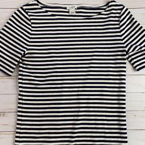 J crew navy-white striped shirt